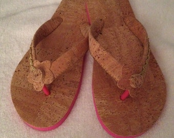 Fashion Women Havaianas handmade in portuguese cork with Pink Base - Flip Flops - US 6 / EU 36/37