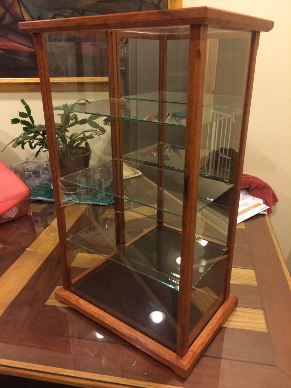 wood and glass display case for miniatures models crystal. Black Bedroom Furniture Sets. Home Design Ideas