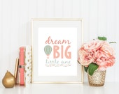 Dream Big Little One Nursery Print Wall Art Poster Download, Hot Air Balloon Girl Coral & Mint Baby Shower Gift, Bedroom Decor, Printable