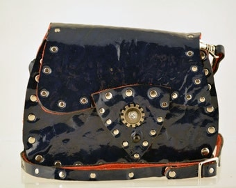 Blue Patent Leather Steampunk Pouch