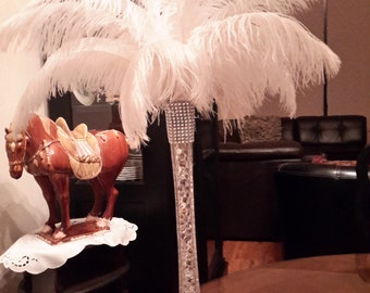 "Ostrich Feather Centerpiece with 16"" Eiffel Tower Vase"