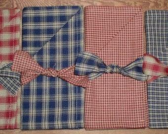 4 PC Americana Homespun Napkins Country Red Navy Tan Cotton Fabric Napkins with Coordinating Homespun Ties USA 4th of July Kitchen Decor