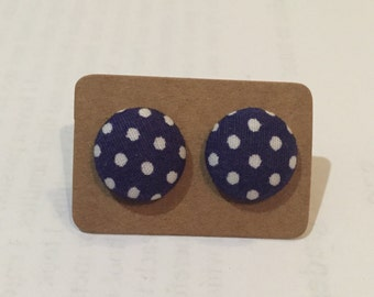 Navy with white dots. Fabric earring. 15mm