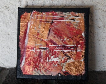 Mixed media art canvas, small abstract painting, 10x10 cm, approx 4x4 inches