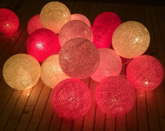 20 x  Bright Pink Shade cotton ball string light for decor ,bedroom, wedding, party, garden,lamp,lantern