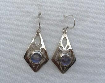Moonstone silver dangle earring