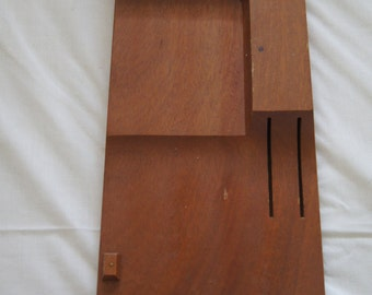 Vintage 1970's - Wooden Flint Knife Holder wall mount -  holds five knives