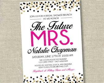Bridal shower invitation, wedding shower invitation, confetti bridal shower invitation, bridal shower brunch invitation, future mrs