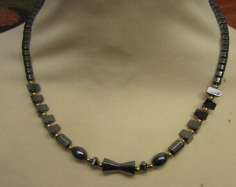 Vintage Hematite bead necklace, gold-tone ball spacers