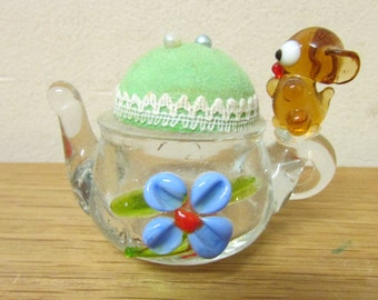 Unusual vintage miniature blown glass teapot pin cushion with cute mouse detail