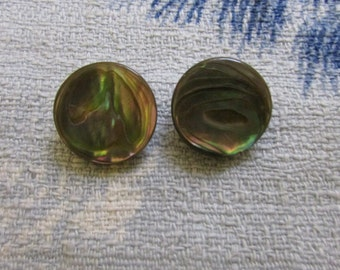 Vintage Abalone disc clip-on earrings