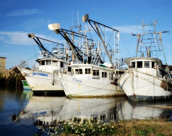 SHRIMP BOATS at REST ~ Louisiana at Large Series ~ Chalmette, Louisiana ~ Seafood ~ Commercial Fishing ~ Nautical ~ Fine Art Photography