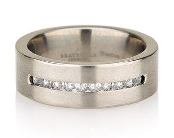 Princess Cut Cubic Zirconia wedding band. Brushed Satin Simple, modern wedding ring small quality diamonds. Titanium diamond ring. 7mm
