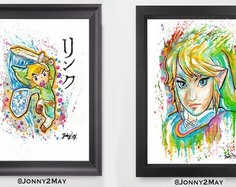 Original - 2 double Link (Legend of Zelda) Painting High quality Gloss photo PRINT by Jonny2may A4
