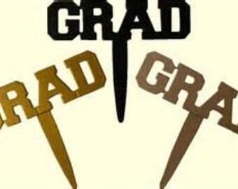 BLACK, GOLD & SILVER Grad Cupcake Picks