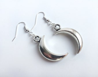 Gothic Crescent Moon Dangle Earrings (Pair) On Silver Plated Hooks - Silver Moon Earrings, Pagan Earrings, Gothic Earrings, Goth Earrings