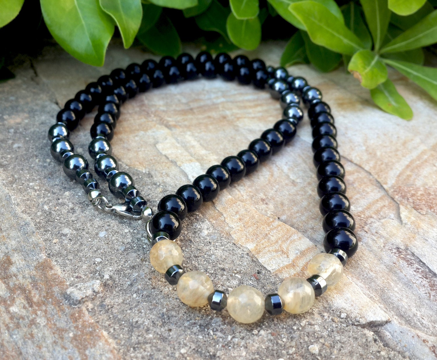 handmade men 39 s necklace in black onyx stone with by. Black Bedroom Furniture Sets. Home Design Ideas