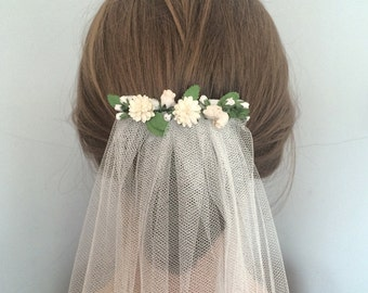 Rustic wedding veil - Bohemian wedding veil with spring meadow white and ivory parchment flowers - 'Salisbury' veil