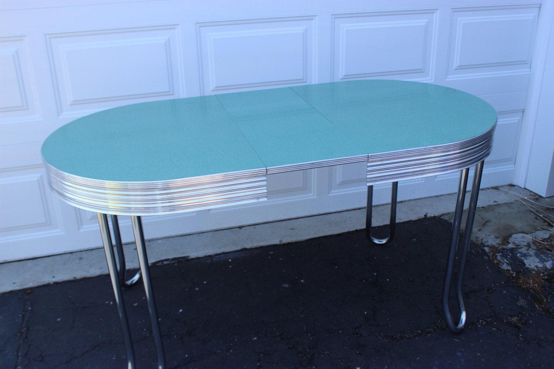 Vintage retro mid century turquoise chrome oval kitchen for Teal kitchen table