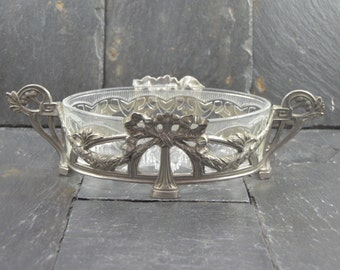 Antique French  JARDINIERE  Art Nouveau Cottage chic french apartment glass and regule