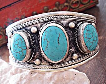 Boho Cuff,Turquoise Cuff, Bohemian Jewelry, Boho Jewelry,Free People, Tibetan Jewelry, Nepal Jewelry, Hippie Jewelry, Gypsy Jewelry