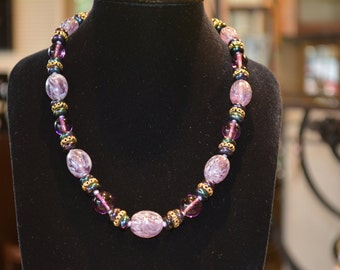 1960 s purple vintage glass bead necklace,
