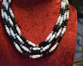 Necklace multi strand black white Rousselet necklace-.