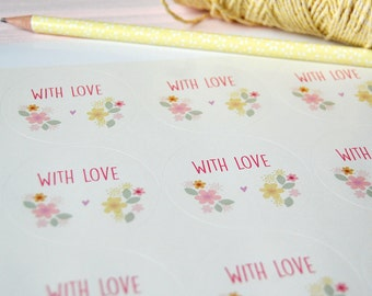 With Love Stickers, Floral Stickers, Envelope Seals, Floral Envelope Seals, Gift Wrapping Stickers, Wedding Favour Stickers, Party Stickers