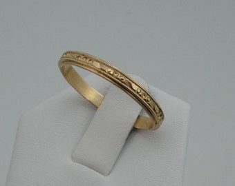 Wonderful Vintage Art Deco Patterned 14K Yellow Gold Band #YG30SADB-B1