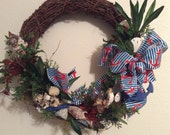 Nautical wreath, Coastal decor, Beach decor, Sea shell wreath, Decor for the seashore, Sand dollars and sea shells, Nautical themed wreath
