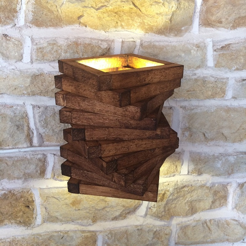 Abstract Rustic Handmade Wood Wall Light Spiral Up Down Wall