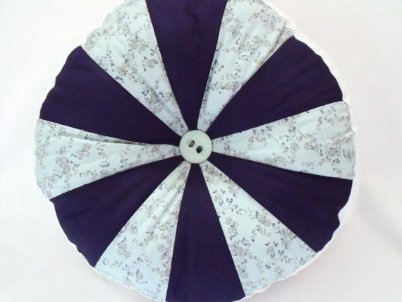 "patchwork scatter cushion, pinwheel pillow, large accent pillow, green and navy, 13"" across, navy and mint"
