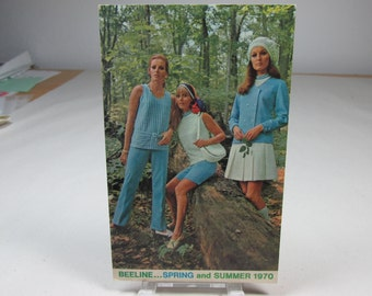 Beeline fashion show, 1970 vintage advertising postcard, paper ephemera, vintage clothes