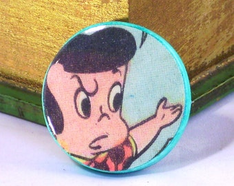 Comic Book Pins Pop Culture Jewelry Ephemera Brooch Little Dot Selfie Pin Recycled Comic Cartoon Character Recycled Comics Birthday Gift