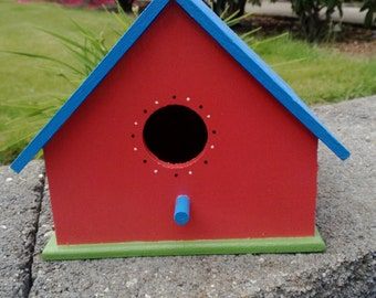 Wood Bird House -- Hand Painted -- Colorful -- Yard Art