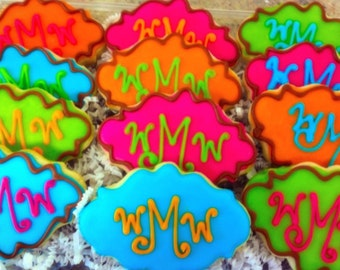 Bright Monogrammed Decorated Sugar Cookies