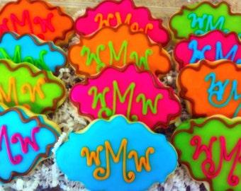 Bright Monogrammed Decorated Sugar Cookies