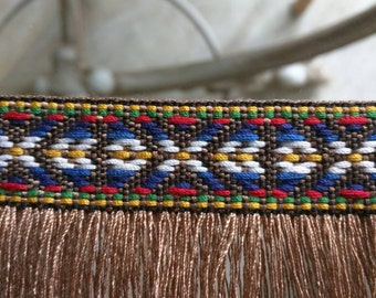 Free Shipping 7 Meters Woven Aztec Tassel Trim Native American Inspired 7.65 yards