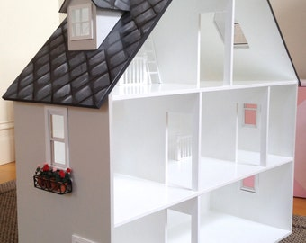 Doll House - Girls Doll House, Dollhouse, Wooden Doll House, Doll House For Girls, 'A' Frame Dollhouse, Hand Painted Dollhouse,