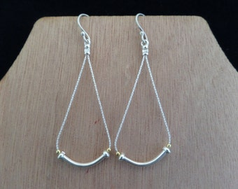 Delicate Long Sterling Silver and Gold Vermeil Earrings