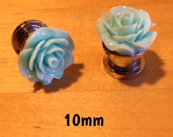 10mm turquoise rose ear plugs for stretched ears