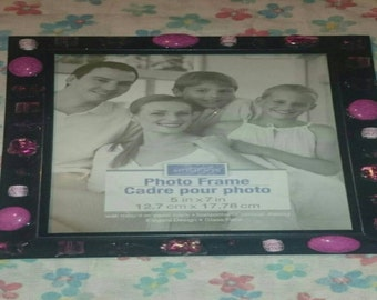5x7 picture frame with pink beads