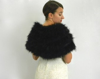 60s Black Ostrich Capelet | Evening Wrap Shrug