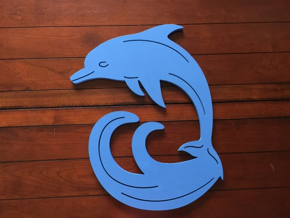 Dolphin Outdoor Wall Decor : Large dolphin on wave wall art indoor outdoor by simplyburtons