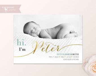 NAME BIRTH ANNOUNCEMENT - Gold Baby Announcement - Baby Girl Announcement - Baby Boy Announcement - Newborn, Modern, Printable, Digital -