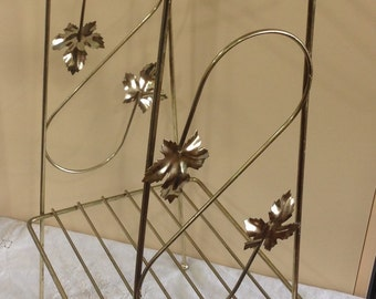 Vintage gold tone metal telephone / plant stand