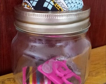 Abstract Tree Branch Sewing Jar with Pincushion