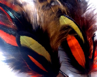 Earrings feathered black-green olive-orange-grizzly
