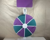 "12"" Prize wheel. Chalkboard Party wheel with topper. Purple and Teal. Promote your booth at trade shows. Ready to ship!"