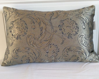 Silvery Gold and Blue Damask, Lumbar Pillow Cover, Decorative Pillow, Sofa Accent, Couch Toss Pillow, Cushion, 12x18